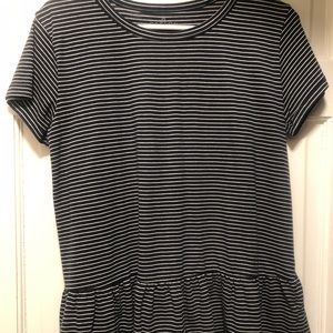 Navy with white stripe peplum tee